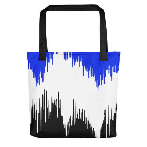 Blue, White & Black Paint Drip Tote bag