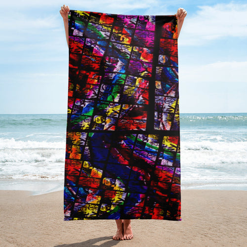 New York Chapel Glass AMBRO Print Beach Towel