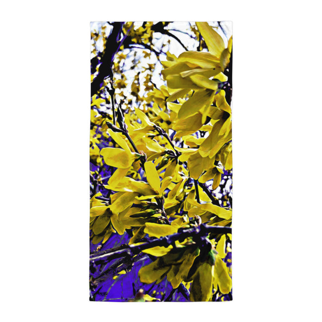 Neon Yellow Forsythia Beach Towel