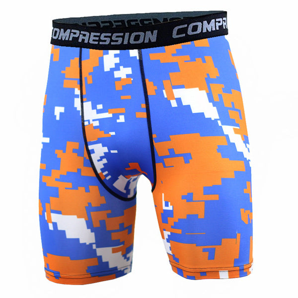 BJJ Compression Shorts - Blue/Orange Digital Camo
