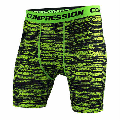 BJJ Compression Shorts - Green Static