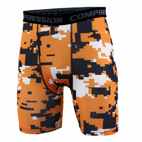 BJJ Compression Shorts - Orange Digital Camo