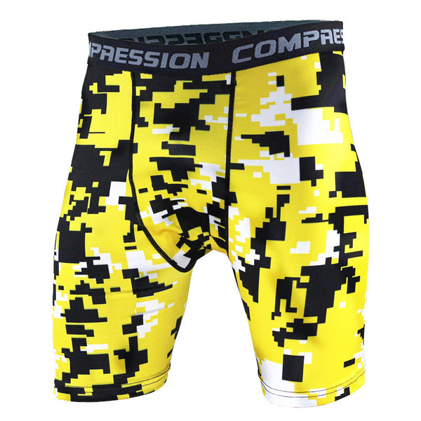 BJJ Compression Shorts - Yellow Digital Camo