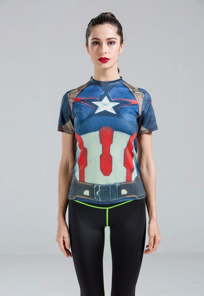 Captain America Female Superhero Compression Shirt