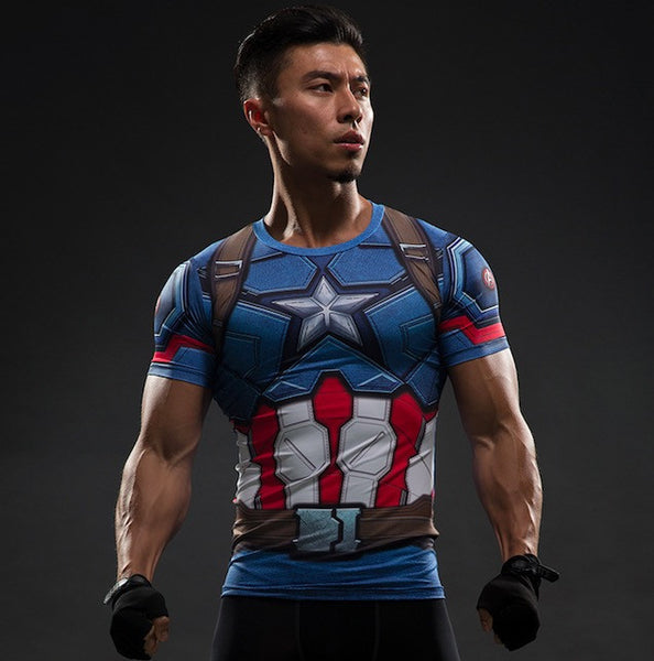 Captain America Superhero Short Sleeve Compression Shirt