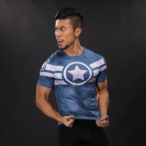 Captain America Training Compression Shirt - Short Sleeve