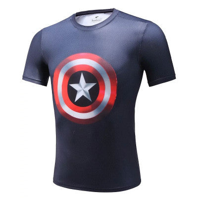 Casual Captain America Superhero Compression Shirt - Youth
