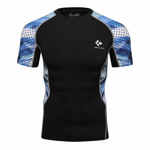 Codi Lundia MMA Short-Sleeve Compression Shirt - Blue Mesh