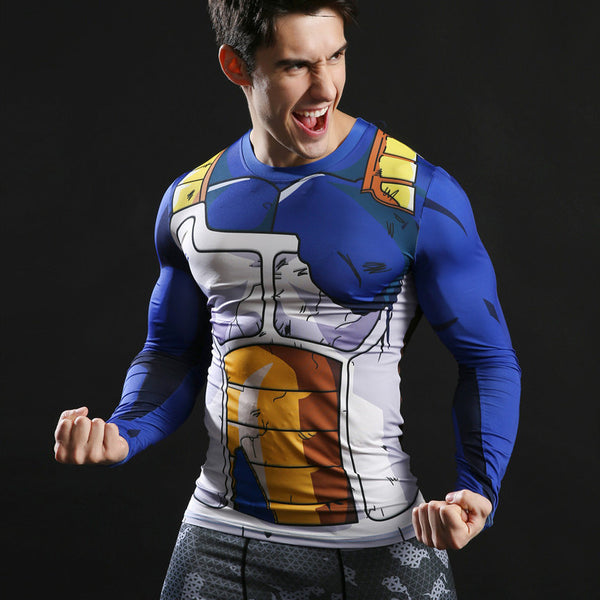 DBZ Battle Damaged Vegeta Armor Long-Sleeve Compression Shirt
