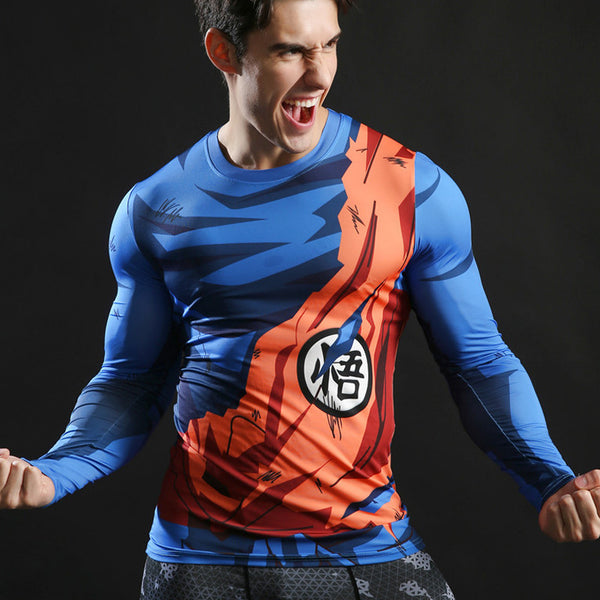 DBZ Goku's Battle Torn Gi Long-Sleeve Compression Shirt