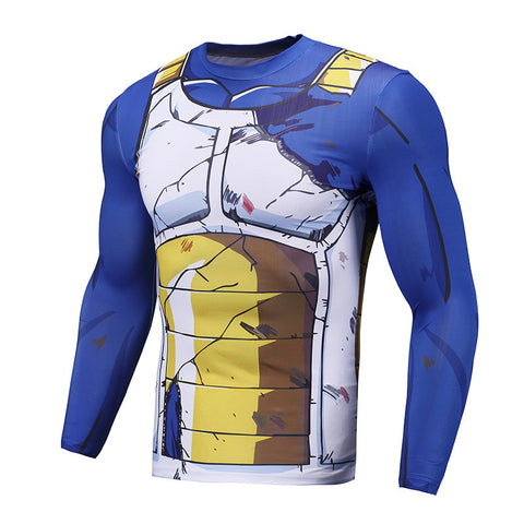 DBZ Vegeta Battle Torn Armor Long-Sleeve Compression Shirt