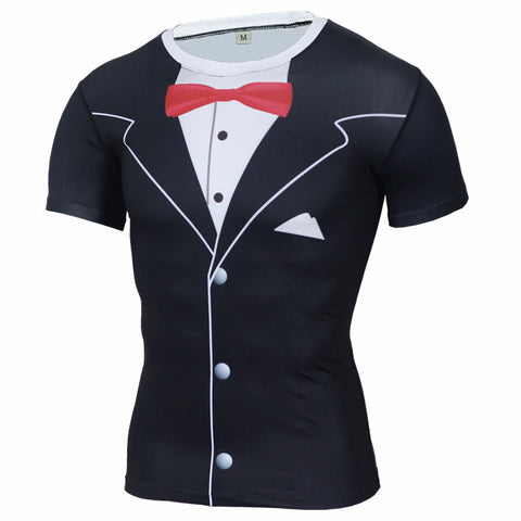 Luxury Tuxedo Compression Shirt - Black