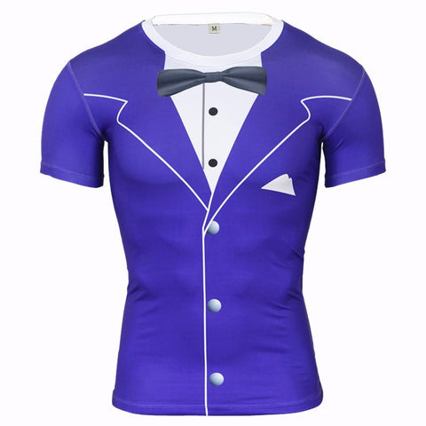 Luxury Tuxedo Compression Shirt - Blue