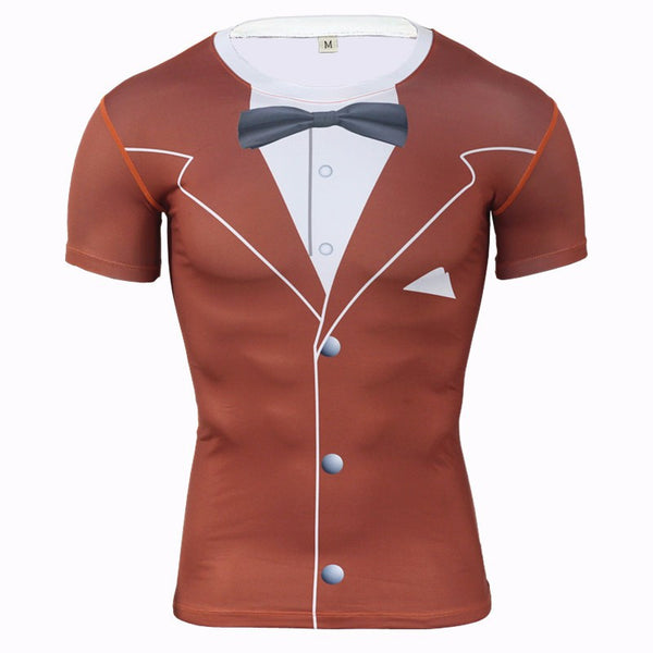 Luxury Tuxedo Compression Shirt - Red