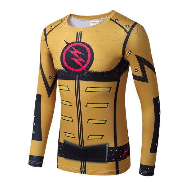 Reverse Flash Superhero Long-Sleeve Compression Shirt