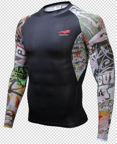 TUNSECHY Graffiti BJJ Rash Guard - Long-Sleeve