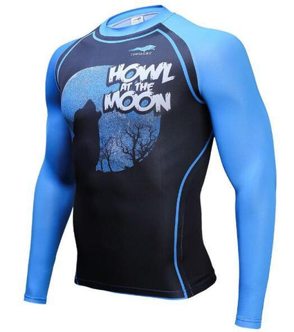 TUNSECHY Howl at the Moon BJJ Rash Guard - Long-Sleeve