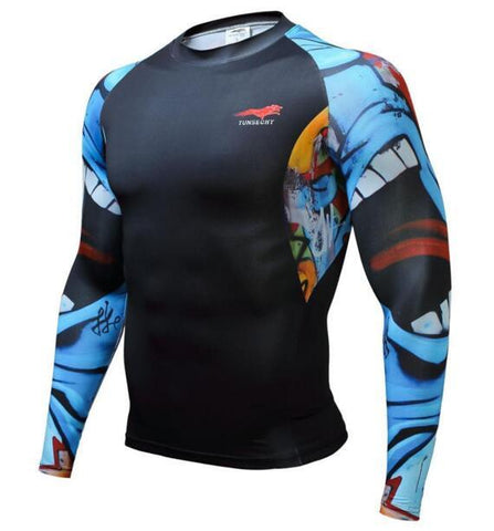 TUNSECHY Screaming BJJ Rash Guard - Long-Sleeve