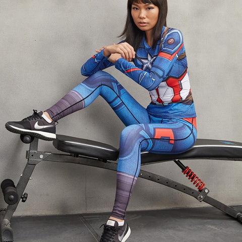 Female Captain America Compression Leggings
