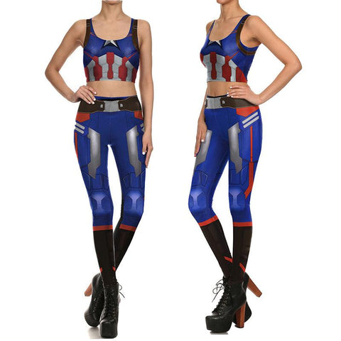 Female Captain America Compression Tank Top + Leggings