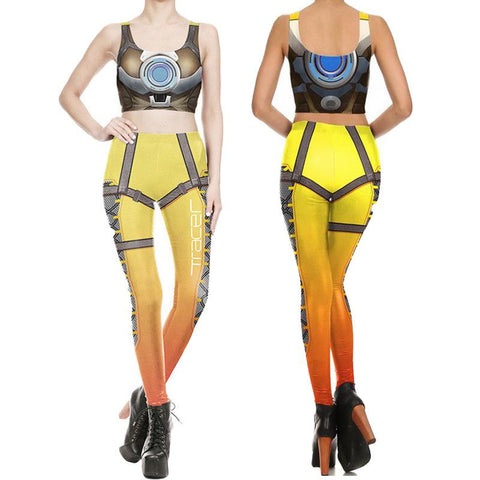 Overwatch Female Tracer Compression Tank Top + Leggings