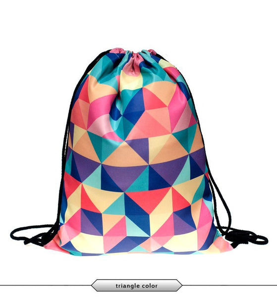Color Geometry Draw String Bag