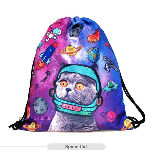 LCD Cat Draw String Bag