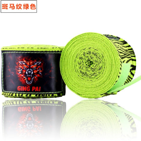 Ging Pai Mexican Style Hand Wraps - Green Zebra