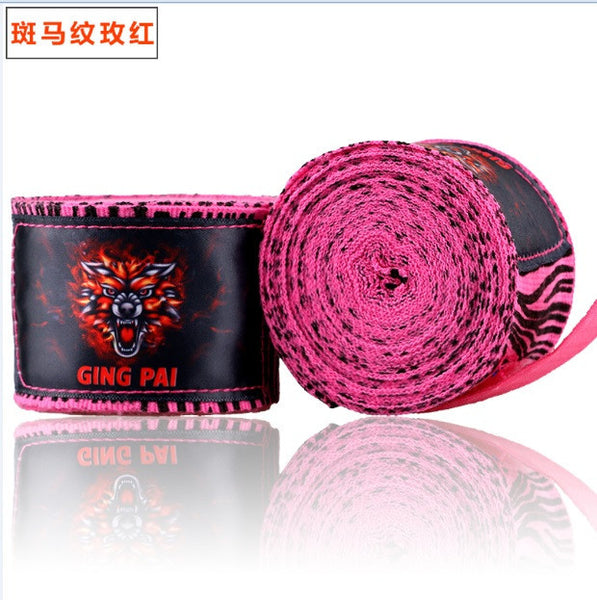 Ging Pai Mexican Style Hand Wraps - Pink Zebra