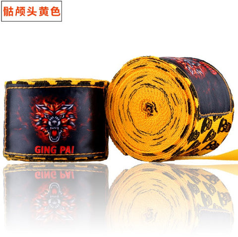 Ging Pai Mexican Style Hand Wraps - Yellow Skulls