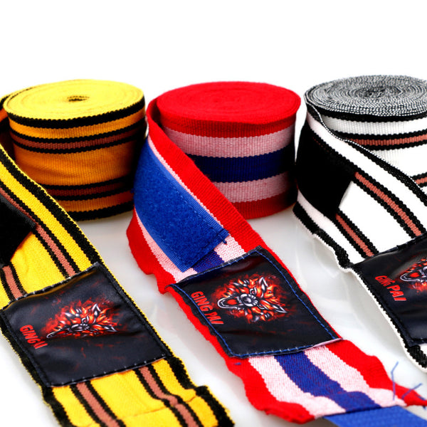 Ging Pai Mexican Style Hand Wraps - Yellow Stripes