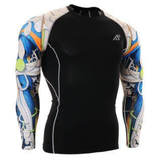 Life on Track Blue Japanese Ink Long-Sleeve Compression Shirt