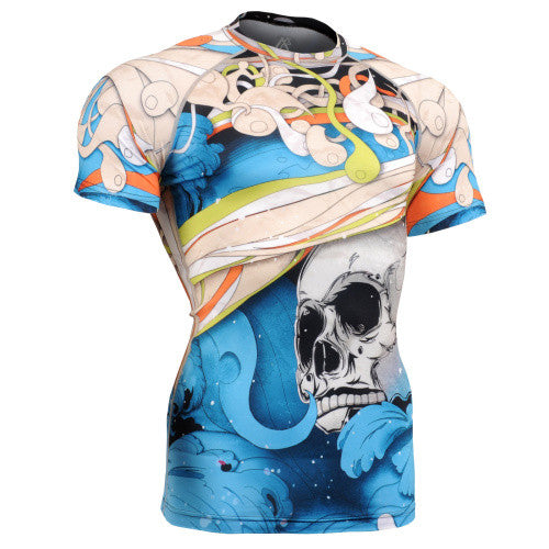 Life on Track Blue Japanese Ink Short-Sleeve Rash Guard