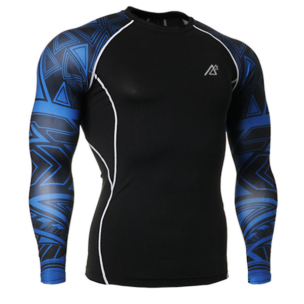 Life on Track Blue Tribal Ink Long-Sleeve Compression Shirt