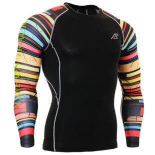 Life on Track Colorful Stripes Long-Sleeve Compression Shirt