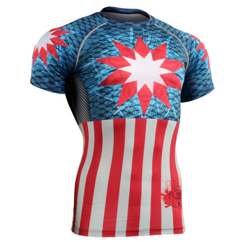 Life on Track Geometric America Short-Sleeve Rash Guard