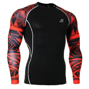 Life on Track Red Tribal Ink Long-Sleeve Compression Shirt