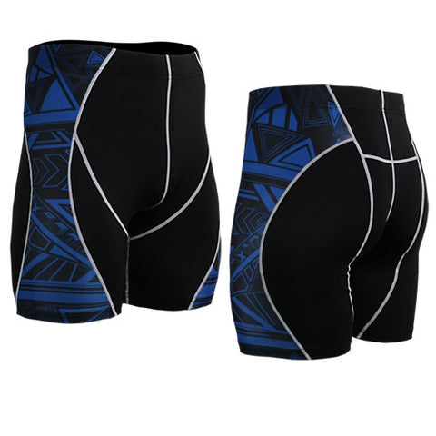 Life on Track Vale Tudo Compression Shorts - Blue Tribal Ink