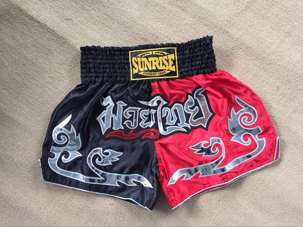 Sunrise Combat Gear Muay Thai Shorts - Black/Red