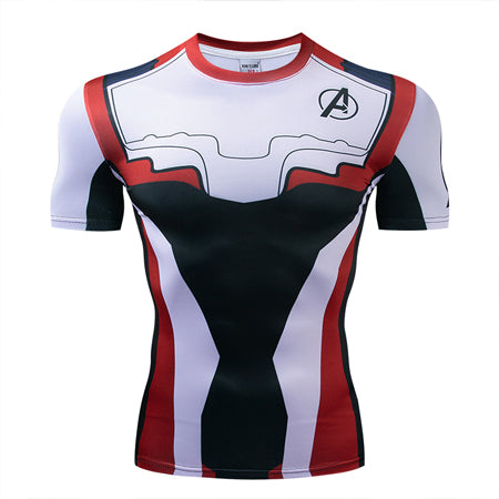 MCU Avengers Space Suits Compression Shirt - Short Sleeve