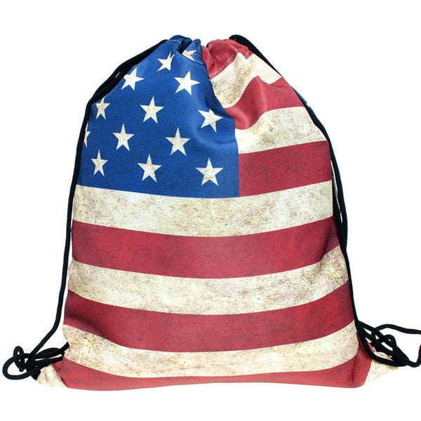 American Flag Draw String Bag