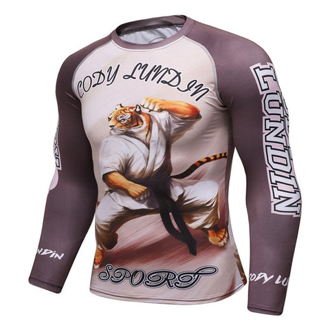 Cody Lundin Sports Karate Tiger Rash Guard - Long Sleeve