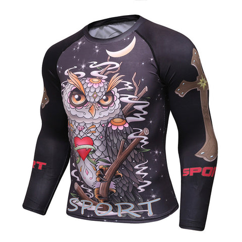 Cody Lundin Sports Tattoo Owl Rash Guard - Long Sleeve