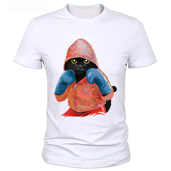 Red Boxing Cat Men's T-Shirt