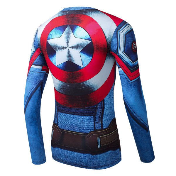 Superhero Long Sleeve-Sleeve Compression Shirt