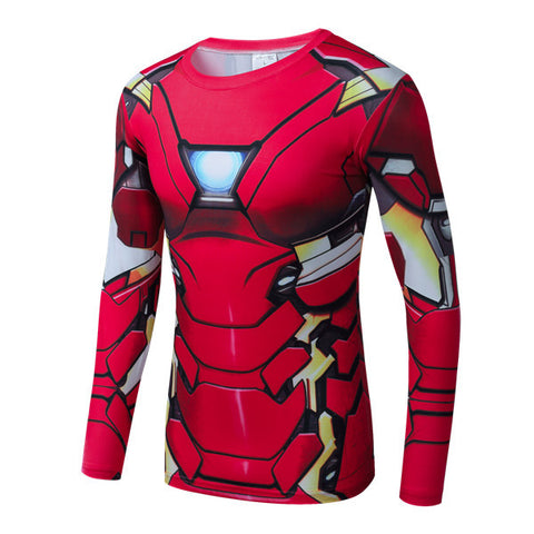 Superhero Long Sleeve-Sleeve Compression Shirt - Ironman