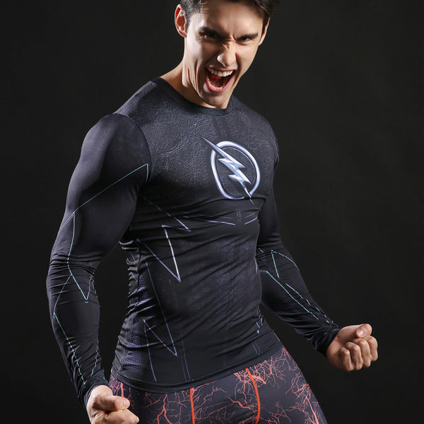 Superhero Long Sleeve-Sleeve Compression Shirt - Stealth Flash