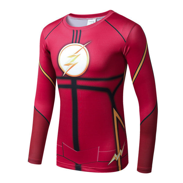 Superhero Long Sleeve-Sleeve Compression Shirt - The Flash