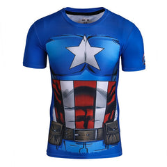 comic captain america short sleeve compression shirt