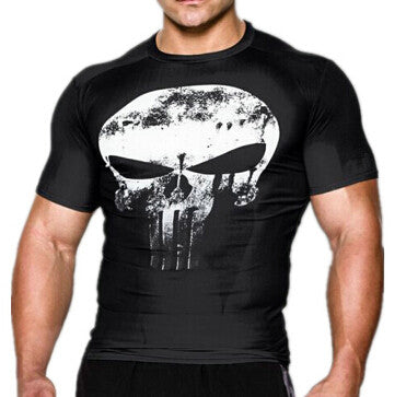 Superhero Short-Sleeve Compression Shirt - Punisher